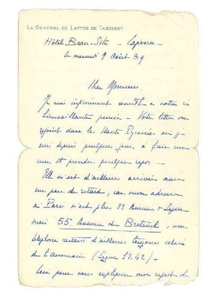 VALÉRY PAUL 保罗·瓦勒里 (1871-1945) ET LATTRE DE TASSIGNY JEAN DE (1889-1952)