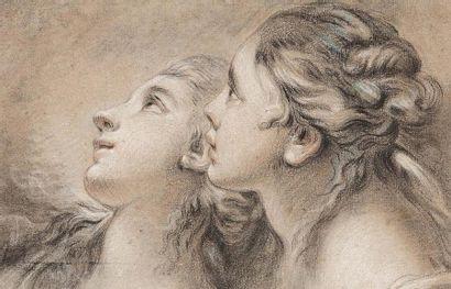 FRANÇOIS BOUCHER 弗朗索瓦·布歇 (PARIS 1703 - 1770) Têtes de deux jeunes femmes de profil...
