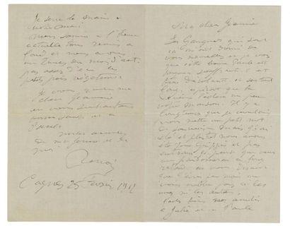 RENOIR PIERRE-AUGUSTE 皮埃尔·奥古斯特·雷诺阿 (1841-1919) Lettre autographe signée à sa chère...