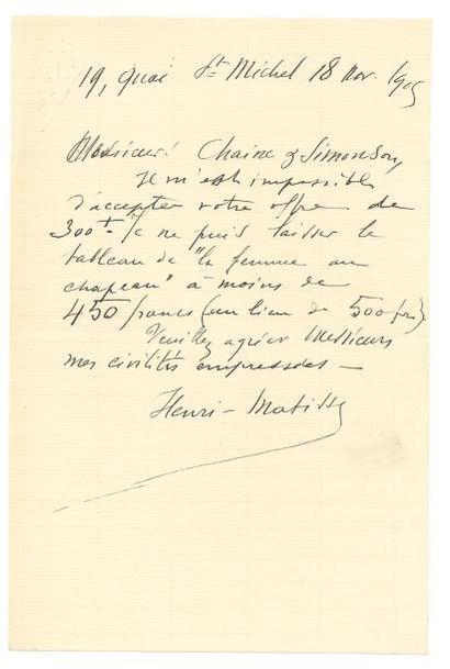 MATISSE HENRI 亨利·马蒂斯 (1869-1954) Lettre autographe signée à Messieurs Chaine et Simonson....