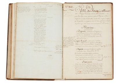 * MARINE RECUEIL manuscrit de mémoires, états...