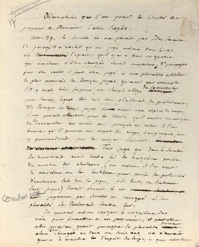 CONDORCET JEAN-ANTOINENICOLAS CARITAT, MARQUIS DE 孔多塞侯爵 (1741-1794).