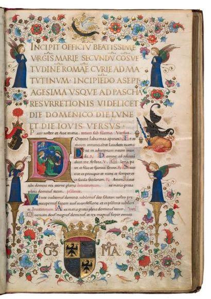 GRANDES HEURES DE GALEAZZO MARIA SFORZA LIVRE D'HEURES, À L'USAGE DE ROME En latin...