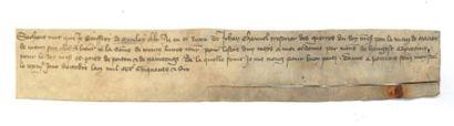 GUERRE DE CENT ANS. Quittance manuscrite,...