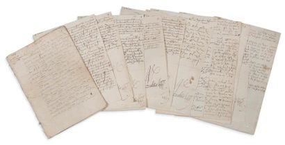 LOUIS XII (1462-1515) 9 lettres signées «Loys»,...