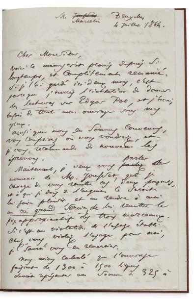BAUDELAIRE Charles (1821-1867) L.A.S., Bruxelles 4 juillet 1864, à l'éditeur Louis...
