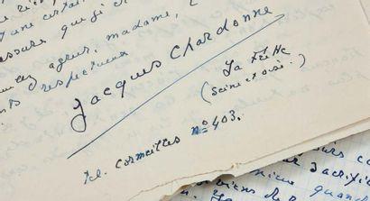 CHARDONNE JACQUES (1884- 1968) Correspondance autographe signée à Ginette GUITARD...