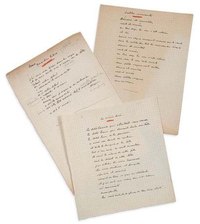PRÉVERT JACQUES (1900- 1977) 3 Poèmes autographes, Quartier libre, le Miroir brisé...