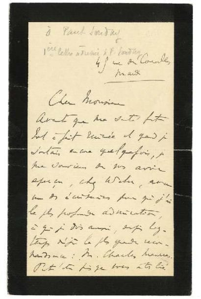 PROUST MARCEL (1871- 1922) 3 L.A.S., [1906 et 1922], à Paul SOUDAY; 3 et 1 pages...