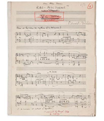 BENOIST-MÉCHIN JACQUES (1901-1983) MANUSCRITS MUSICAUX autographes, la plupart signés,...