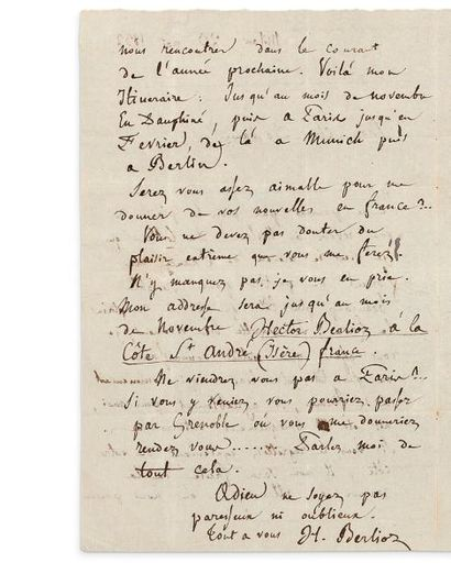 BERLIOZ Hector (1803-1869) L.A.S., Milan 23 mai 1832, à Joseph DESSAUER à Milan;...
