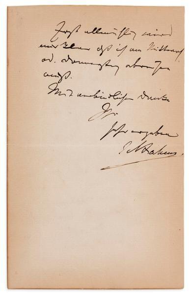 BRAHMS Johannes (1833-1897) L.A.S., décembre 1879; 1 page et demie in-8 (papier légèrement...