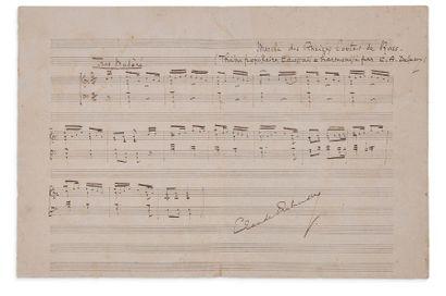 DEBUSSY Claude (1862-1918) MANUSCRIT MUSICAL autographe signé, Marche des Anciens...