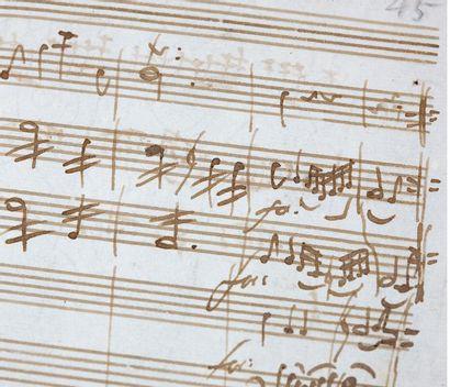 MOZART WOLFGANG AMADEUS (1756-1791) MANUSCRIT MUSICAL autographe pour la Sérénade...