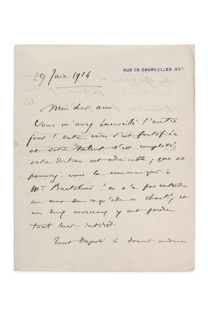 SAINT-SAËNS Camille (1835-1921) L.A.S., 29 juin 1914, à son ami le marquis Arthur...