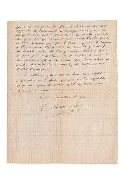 SAINT-SAËNS Camille (1835-1921) L.A.S., Alger 17 janvier 1920, à un «très-cher docteur...