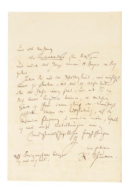 SCHUMANN ROBERT (1810-1856) L.A.S., Dresde 30 avril 1849, à l'éditeur musical Friedrich...