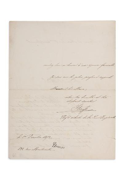 STRAUSS ISAAC (1806-1888) L.A.S., 1er décembre 1852, au Maire du 6ème arrondissement;...