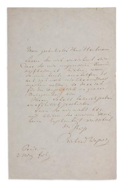 WAGNER RICHARD (1813-1883) L.A.S., Paris 3 mars [1860], à Jean HARTMANN; 1 page in-8...