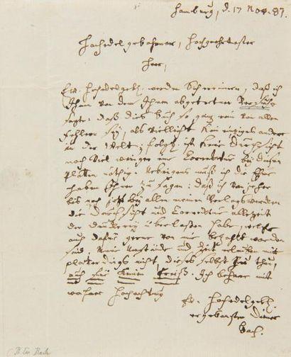 BACH Carl Philipp Emanuel (1714-1788). L.A.S....