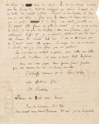 BERLIOZ Hector (1803-1869). L.A.S., Paris...