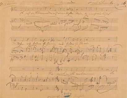 BRAHMS Johannes (1833-1897). MANUSCRIT MUSICAL...