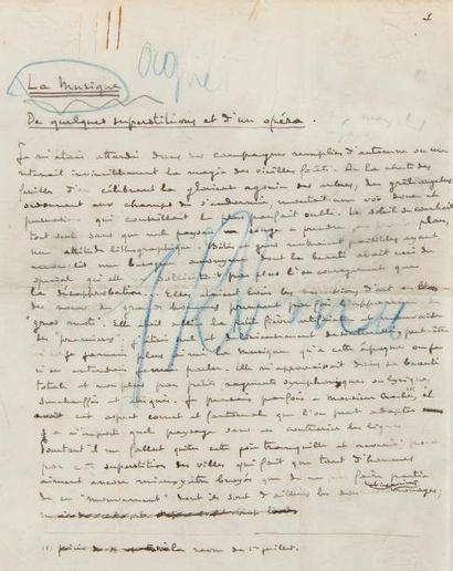 DEBUSSY Claude (1862-1918). MANUSCRIT autographe...