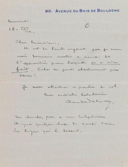 DEBUSSY Claude (1862-1918). L.A.S. «Claude...