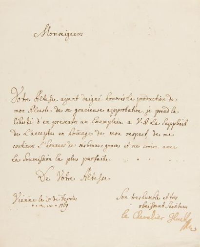 GLUCK Christoph Willibald (1714-1787). L.S....