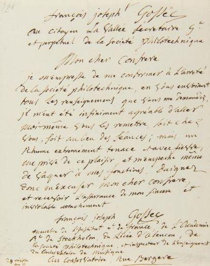 GOSSEC François-Joseph (1734-1829). LA.S.,...