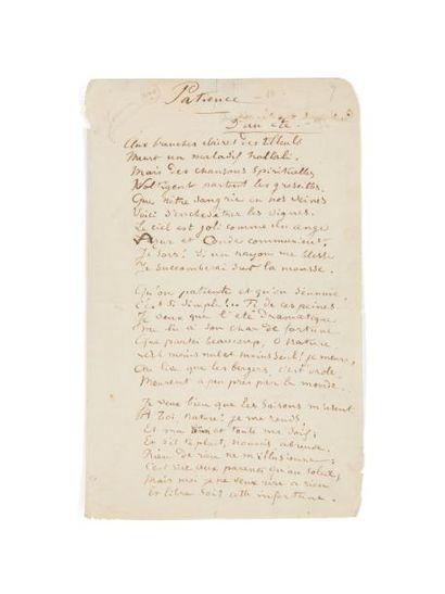 RIMBAUD ARTHUR (1854 - 1891) PATIENCE. D'UN ÉTÉ. Poème autographe, Charleville, printemps...