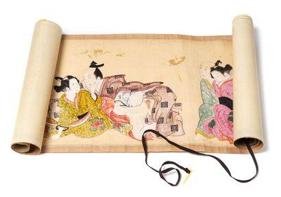 Kakémono, Japon, vers 1900. Gouache sur tissu...