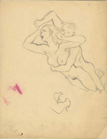 Couples, vers 1970. 8 dessins au crayon,...