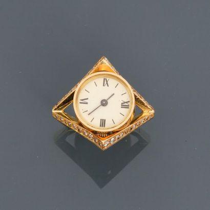 Bague en or jaune, 750 MM, corps carré, quatre...