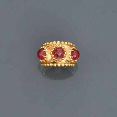 Bague anneau à décor de petites perles d'...