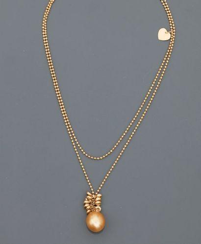 POIRAY, Long double collier de petites perles...