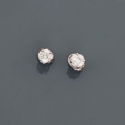 Puces d'oreilles en or gris, 750 MM, recouverte...