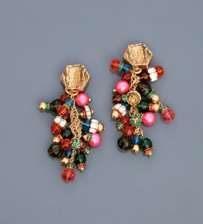 """DIOR, """"Couture"""" ear clips, asymmetrical prototype of glass beads and Swarovski rhinestones,..."""