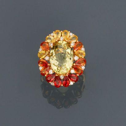 Bague en or jaune, 750 MM, centrée d'un quartz...