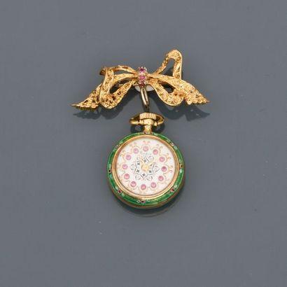 """Montre de col portée par sa broche """" Ruban """" en or jaune, 750 MM, tour du cadran..."""