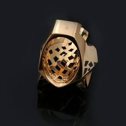 CARTIER, La Panthère. Yellow gold ring, 750 MM, dotted with applied black enamel...
