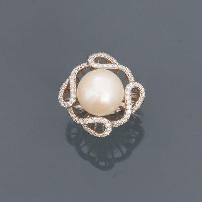 Bague en or gris, 750 MM, ornée d'une perle...