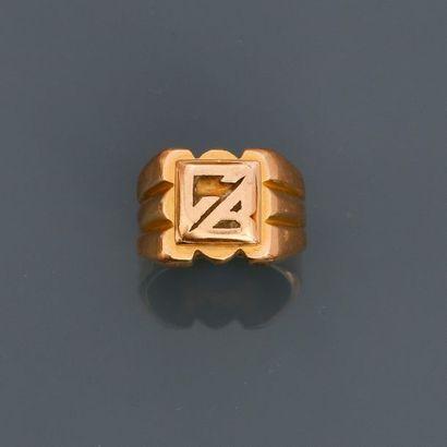 Bague chevalière en or jaune, 750 MM, initiales...