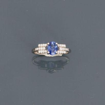 Bague anneau en or gris, 750 MM, ornée d'un...