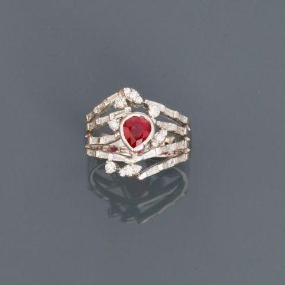 Bague anneau formée de liens d' or gris,...
