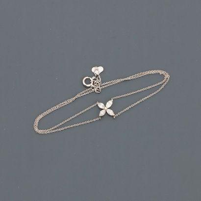 Bracelet double chaîne en or gris, 750 MM,...