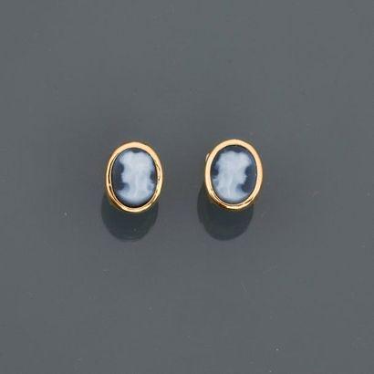 Puces d'oreilles en or jaune, 750 MM, orné...