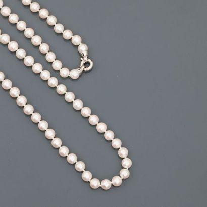Sautoir de cent perles de culture, diamètre...