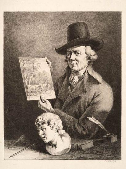 Jean-Jacques de BOISSIEU (1736 - 1810)  Autoportrait,...