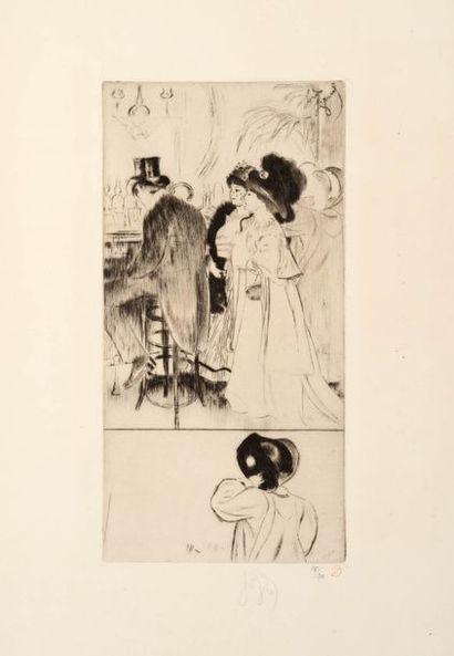 Louis LEGRAND (1863 - 1951)  Le Pochard  Pointe...